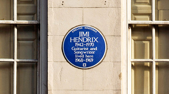 23 Brook Street, City of Westminster, London View of blue plaque to Jimi Hendrix. Date of photograph: August 2001